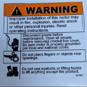 6035 - Motor Warning Sticker